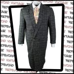 1980s long grey wool check suit jacket by Stark Realism