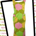 Pink, orange and green handmade fitted midi dress