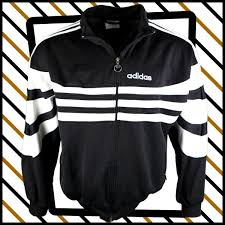 Black and white 1980s-90s Adidas zip-up track top