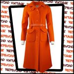 Courrèges 1960s Couture Future red long wool coat