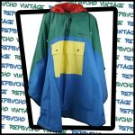 1980s green, yellow, blue and red poncho by Mary Quant