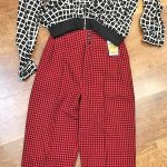 Red and black tartan trousers