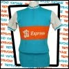 Light blue, orange and white Courtelle 1970s 100% acrylic cycling jersey