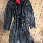 Long black leather coat with tie waist