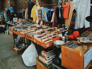 Secondhand clothing and book stall