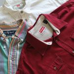 Collared long-sleeve shirts in red, white and multi
