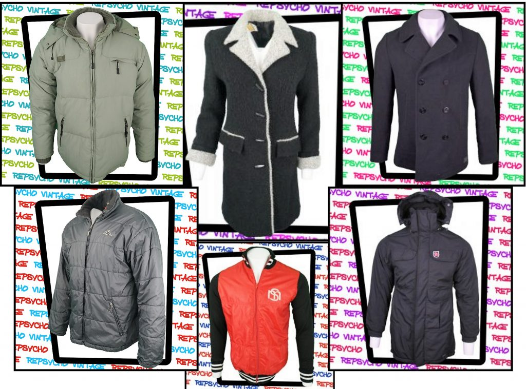 Examples of vintage and used coats and jackets