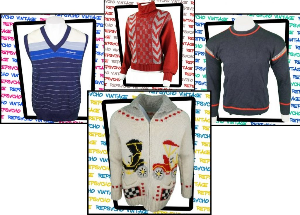 Examples of vintage and used knitwear available to buy at Repsycho.co.uk